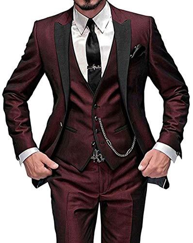 (One Button 3 Pieces Burgundy Wedding Suits Notch Lapel Men Suits Groom Tuxedos Burgundy 40 chest / 34 waist)