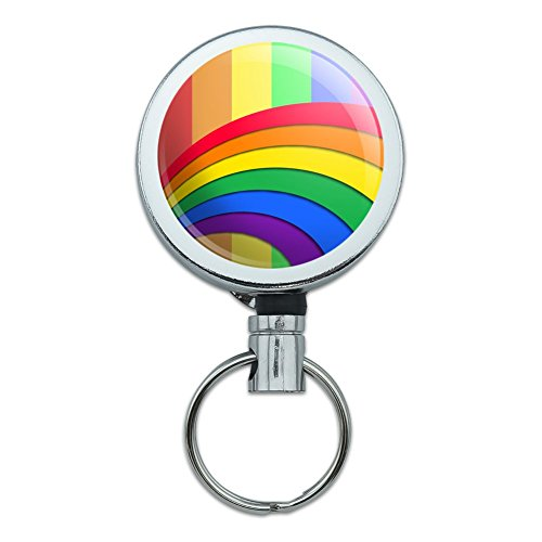 (Double Rainbow Pride Arc Heavy Duty Metal Retractable Reel ID Badge Key Card Tag Holder with Belt Clip)