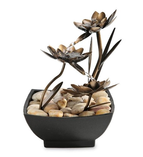 Amazoncom Lotus Flower Metal Fountain Tabletop Fountains