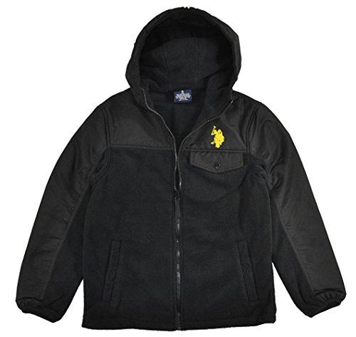 US Polo Assn Big Boys Black & Yellow Fleece Zip Up Hooded Jacket (14/16)