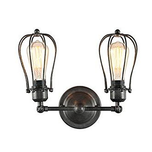 Sanyi Vintage Wall Light Fixture Industrial 2-Light Wall Sconce Edison Lamp Retro Metal Dual Black Cage Wall light Retro Ceiling Pendant Light Fixture Adjustable Wall Lamp