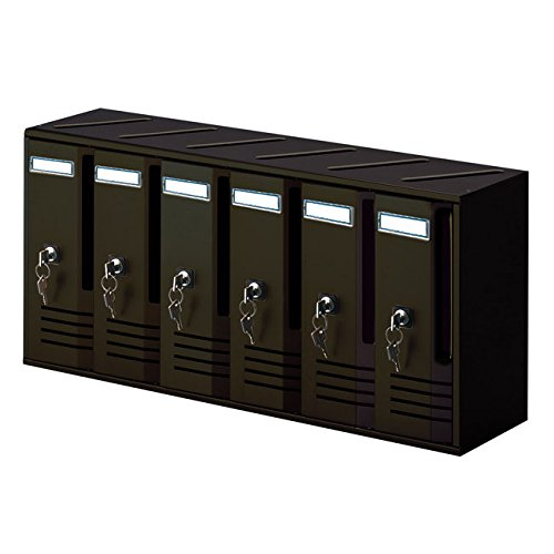 Alubox - Block of 6 Letterboxes, Black, Cast Iron gallotti