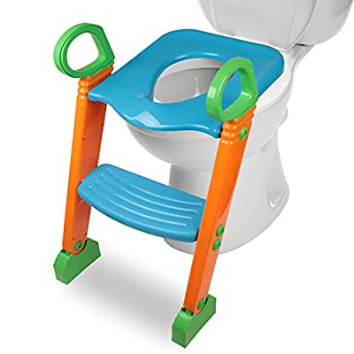 Potty Toilet Seat with Step Stool Ladder, Moclever (3 in 1) Trainer for Kids Toddlers.Adjustable Baby Toddler Kid Potty Toilet Seat for Boy and Girl Children's Toilet Training Seat Chair