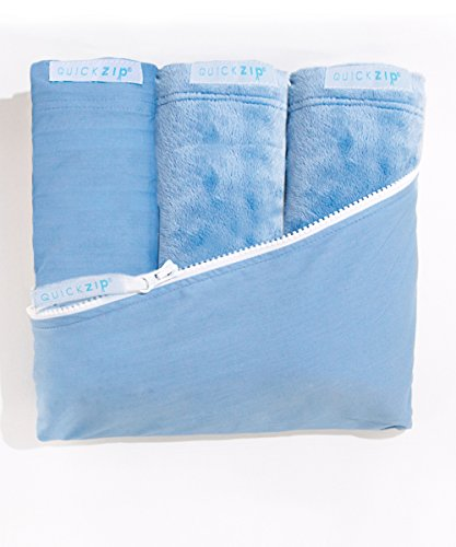 QuickZip Crib Sheet Set - Faster, Safer, Easier Baby Crib Sheets - Includes Blue Wraparound Base & 3 Zip-On Crib Sheets – 1 Blue 100% Cotton, 2 Blue Mink - Fits All Standard Crib Mattresses