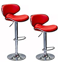 ViscoLogic® Series Oasis Height Adjustable Leatherette Saddle Style Seat and High Back Rest 360 Swivel 24 to 33 inch Bar Stool with Chrome Pole & Base with Hard Floor Protection Plastic (Set of 2 Stools) (Red)