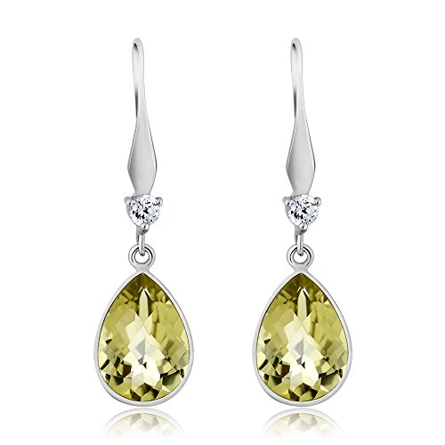 - Gem Stone King Gorgeous 925 Sterling Silver Lemon Quartz Pear Shape Women's Dangle Earrings