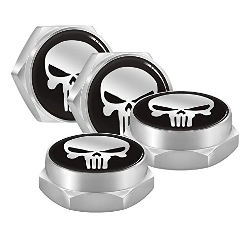 iNewcow Automotive Exterior Accessories Skull License Plate Fasteners – Skull License Frame Bolt Screws Fits Audi VW…