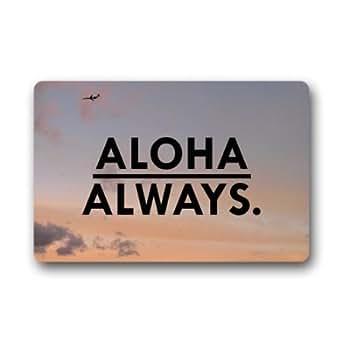 """Personalizado Sunset océano mar Hawaii Aloha felpudos cubierta antideslizante lavable a máquina interior y exterior para cuarto de baño decoración de la cocina alfombra Felpudo 23.6""""(L) X 15,7(W)"""