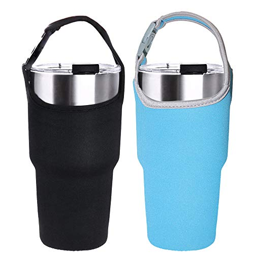 2 Pack Tumbler Carrier Holder Pouch for All 30oz Stainless Steel Travel Insulated Coffee Mug,DanziX Neoprene Sleeve with Carrying Handle,Fit for YETI Rambler Ozark Trail Rtic and More-Black Blue ()