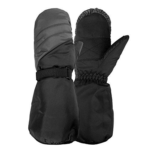 bow Length Ski Mitten, Black/Monument, Medium/Large (8-14) (Nylon Wool Mittens)