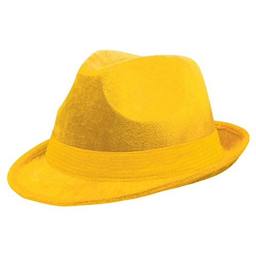 Pinocchio Hat (Amscan Suede-Like Finish Velour Fedora Hat with Matching Color Hatband (1 Piece), Yellow, 5.75 x 9