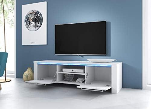 VIVALDI Mueble para TV - MANHATTAN 2 - 160 cm - Negro Mate con Negro Brillante con iluminación LED Azul - Estilo Design: Amazon.es: Juguetes y juegos