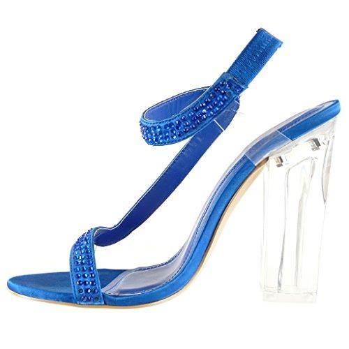 Angkorly - Zapatillas de Moda Sandalias Tacón escarpín sexy la noche mujer strass transparente Talón Tacón ancho alto 12 CM - Azul