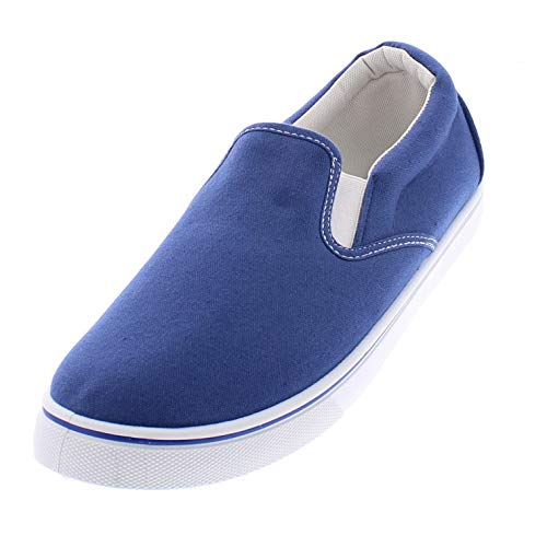 (Doug Mens Slip On Shoes,Casual Skate Canvas Sneakers,Slipon Men's Boat Deck Shoe Medium Blue 10W US)