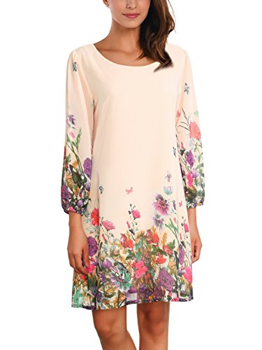 Floral Chiffon (DJT Women's Floral Pattern 3/4 Sleeve Loose Fit Chiffon Tunic Dress Large Apricot-2)
