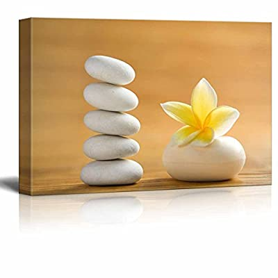 Canvas Prints Wall Art - Zen Stones with Blooming White Plumeria | Modern Wall Decor/Home Decoration Stretched Gallery Canvas Wrap Giclee Print. Ready to Hang - 32