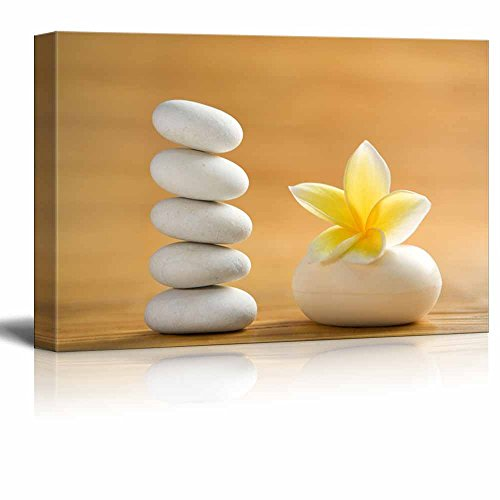 Zen Stones with Blooming White Plumeria Wall Decor ation