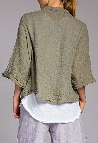 pour Cardigan CASPAR femme et STJ012 lin coton olive en vert nwUxOqTY7w