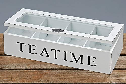 Whole House Worlds, Tea Time Chest, 10 3/4 x 4 1/4 x 2 3/4 Inches, Distressed Wood, Glass Top, 4 Compartments, Rustic White by Whole House Worlds (Image #6)