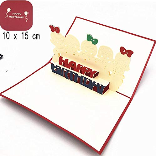 OUOK Happy Birthday Postcard Greeting Gift Cards Blank Paper 3D Handmade Pop Up Laser Cut Vintage Invitations Custom with -
