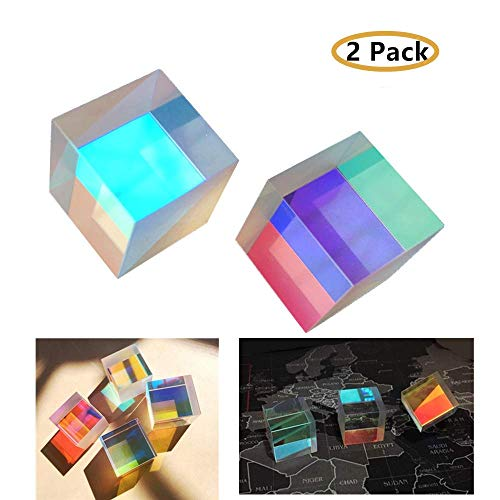 2 Pack Clear Acrylic Crystal Cube Prism Pendant Suncatcher 20mm - for Teaching Light Spectrum Physics and Art Decor