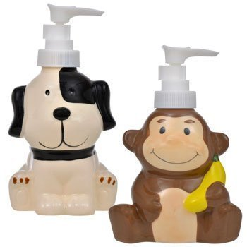 Animal Friends Ceramic Liquid Soap Dispensers: Monkey, Duck, Puppy, and Frog Themes, Each Measuring Approximately 3½ x 2¾ x 5¾