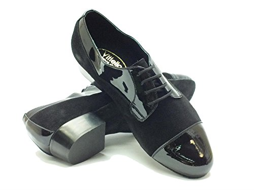 Vitiello Dance Shoes  Standard Camoscio e Verniciato nero, Herren Tanzschuhe Schwarz Nero Nero