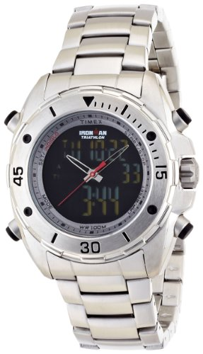 Timex T5K406 Mens Ironman Dual Display Stainless Steel Watch