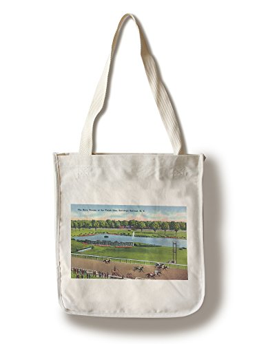 - Lantern Press Saratoga Springs, New York - View of The Race Track Finish Line (100% Cotton Tote Bag - Reusable)