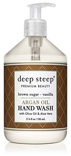 Warm Hand Vanilla Soap Sugar (Deep Steep, Hand Wash Liquid Argan Brown Sugar Vanilla, 17.6 Fl Oz)