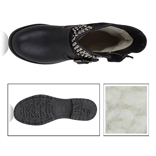 1128886cfa7dd6 ... Stiefelparadies Leicht Gefütterte Stiefel Damen Bikerstiefel Fransen  Schnallen Schuhe Biker Boots Wildleder-Optik Holzoptikabsatz Flandell