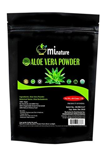 mi nature Aloe Vera Powder (Aloe barbadenis) / 100% Pure, Natural and Organic (454g / (1 lb) / 16 ounces) - Resealable Zip Lock Pouch ()