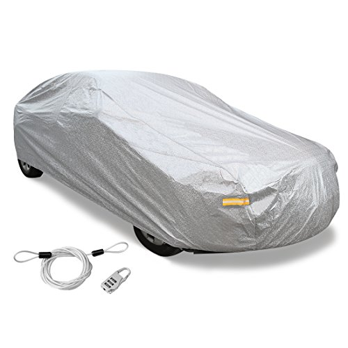 uxcell 3XXL+ Silver Tone Soft Aluminum Car Cover Outdoor Weather Waterproof Breathable Scratch Rain Snow Heat Resistant 570 x 190 x 160cm