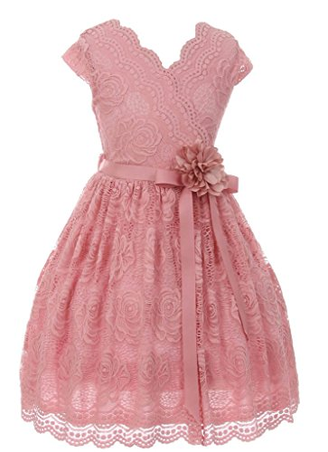 iGirlDress Big Girls Floral Design Lace Easter/Spring Dress Rose Size 8 -