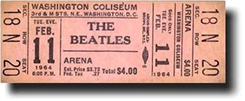 "The Beatles ""Rare & Original"" VERY FIRST USA Concert Ticket - UNUSED!!! (Washington Coliseum, Washington DC, February 11, 1964) - Less than 6 Unused Tickets to this concert are known to exist, with THIS TICKET being the ONLY Known UNUSED ""PREMIUM SEAT"" Ticket in Existence!"