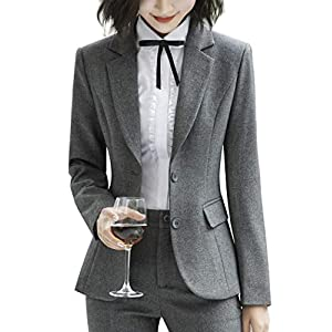 ZingineW Women's Blazers with Sleeves Casual Office Blazer with Button Jackets & Slim Fitted Women Pencil Skirt 29