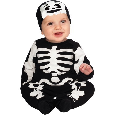 Infant Lil' Skeleton Halloween Costumes Includes Jumper, Booties and Headpiece 6-12m