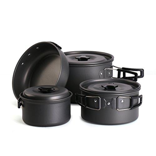 Cheap Hikingworld Lightweight Outdoor Camping Pan Hiking Cookware Backpacking Cooking Picnic Bowl Pot Pan Set (3-5 person – nature)
