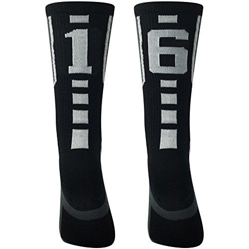 Football Socks, Comifun Adults Teens Mid Calf Custom Team Number Athletic Player ID Socks 1 Pair for Baseball Basketball, Black/White
