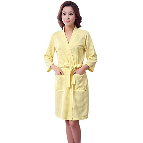 Womens Waffle Bathrobe Knee length Sleepwear