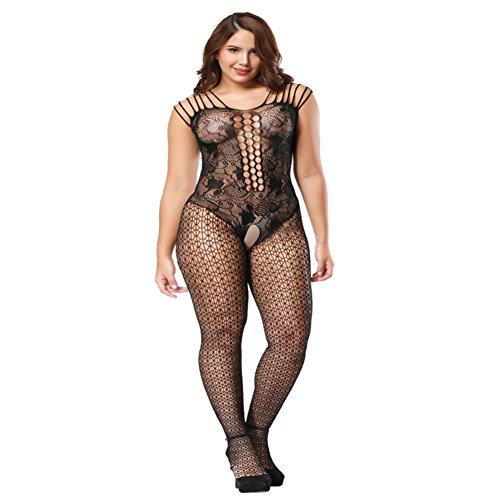Deksias Fishnet Bodystocking Plus Size Crotchless Bodysuit Lingerie For Women (Plus Size, (Nylon Plus Size Suit)