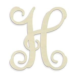 "UNFINISHEDWOODCO Single Vine Unfinished Monogram ""H"" Decorative Letter, 13-Inch"