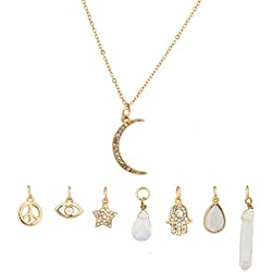 Lux Accessories Crescent Moon Celestial Crystal Hamsa Star Evil Eye Peave Amulet Interchangable Necklace Set
