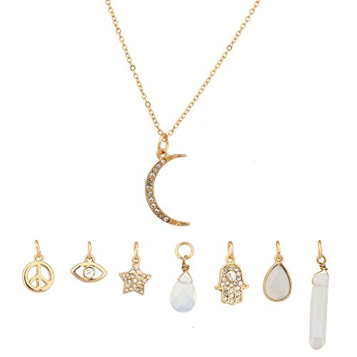 Lux Accessories Crescent Moon Celestial Crystal Hamsa Star Evil Eye Peave Amulet Interchangable Necklace Set - Hamsa Set