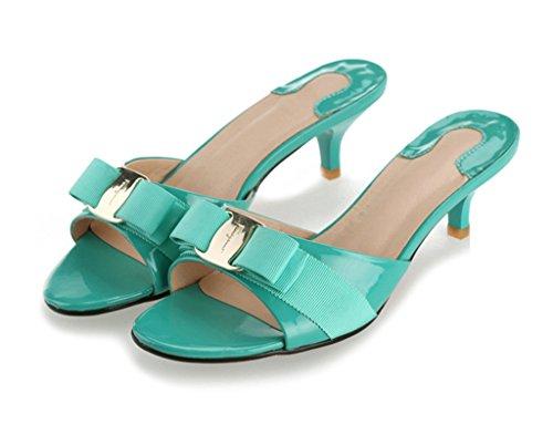 Sale Flat Heel - SUNROLAN April Women's Leather Stiletto Pump Sandal Open Toe Bowknot Accent Slide Dress Low Heel Sandals Shoes Aqua Sky