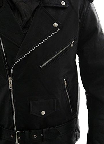 Pelle Brando Brandslock Classico Chiodo Uomo Vera Stile Nero Da xHzUqIzw0