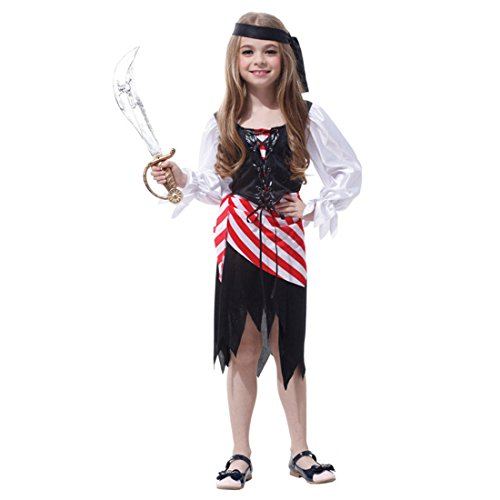Hocus Pocus Witch Costumes Pattern (Kids Halloween Costumes Girls Pirate Costume for Party, Cosplay Costume For Children Kids)