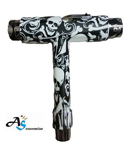 A&S Creavention® Skateboard T-Tool All in one Screwdriver Socket Multi functions skate tool (Skull) (Skateboard Tool)