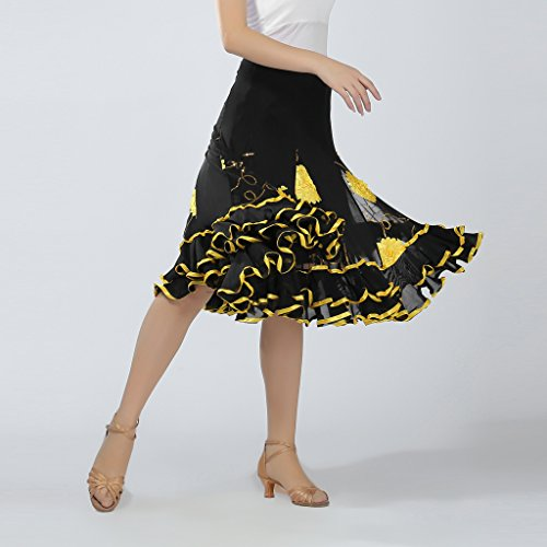 Swing Baoblaze Sequins Ballroom Practice Dance Skirts Performance Long Floral Black XXrp7U