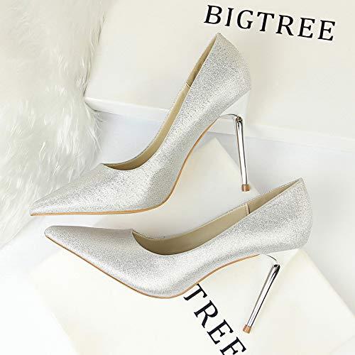 Alto Zapatos Tacón Silver Individuales Tamaño Pies De Yukun Mujer Salvaje Con Otoño Gran Grasa q6wxf